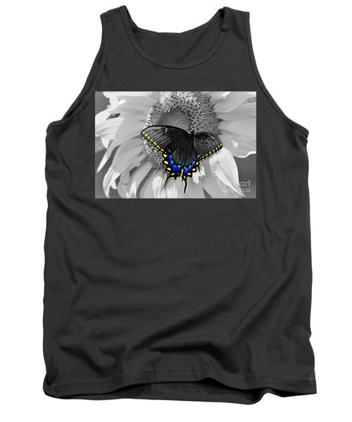 Black Swallowtail And Sunflower Color Splash Tank Top