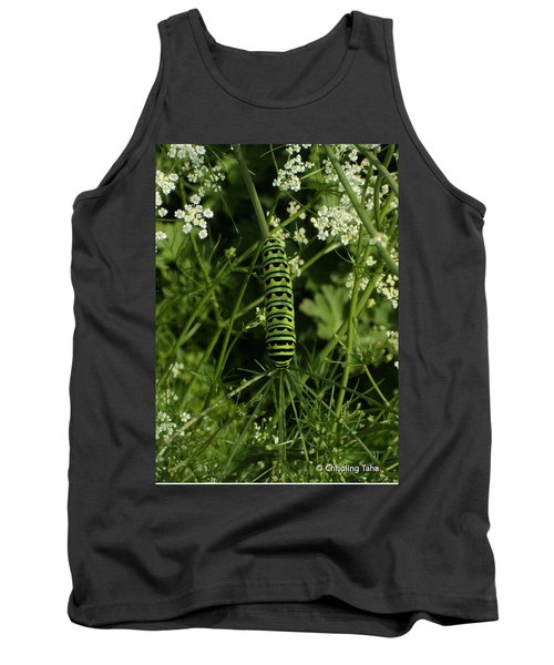 Tank Top featuring the painting Black Swallowtail Butteryfly Caterpillar by Chholing Taha
