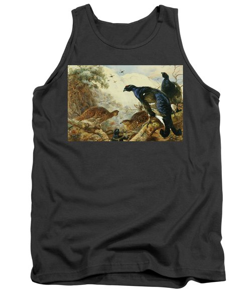 Blackgame Or Black Grouse Tank Top by Archibald Thorburn