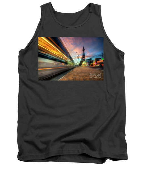 Tank Top featuring the photograph Blackpool Tram Light Trail by Yhun Suarez