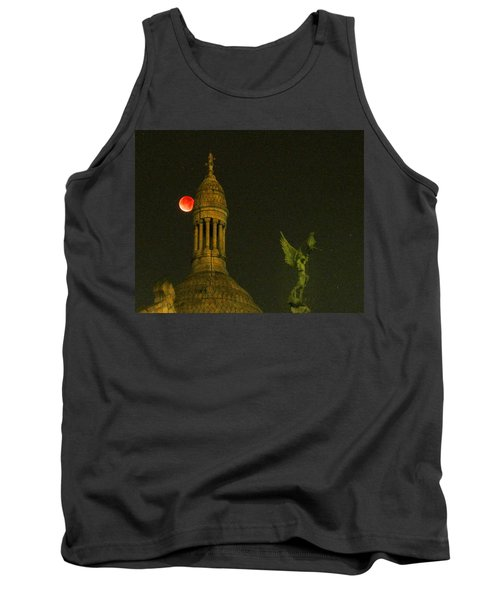 Tank Top featuring the photograph Blood Moon Eclipse At Sacre Coeur Paris  2015 by Sally Ross