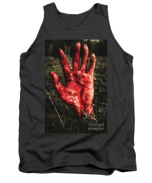 Blood Stained Hand Coming Out Of The Ground At Night Tank Top