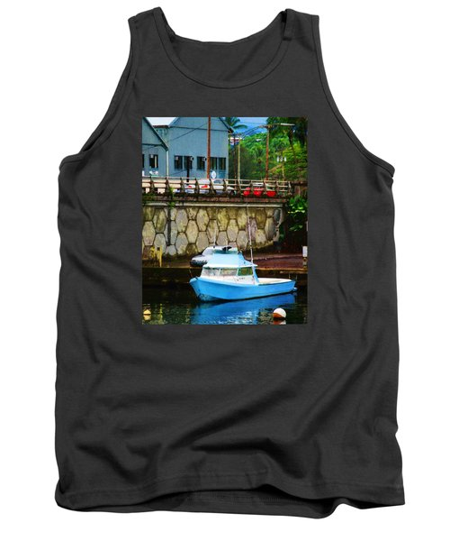 Blue Boat By The Mamalahoa Highway Tank Top by Timothy Bulone