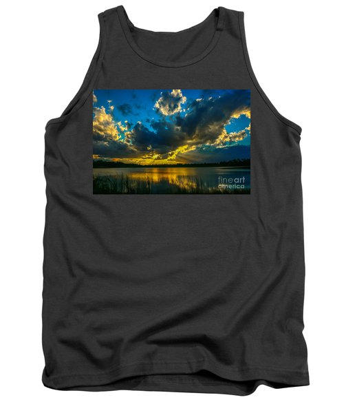 Blue And Gold Sunset With Rays Tank Top by Tom Claud