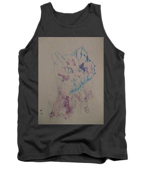 Blue And Purple Cat Tank Top by AJ Brown