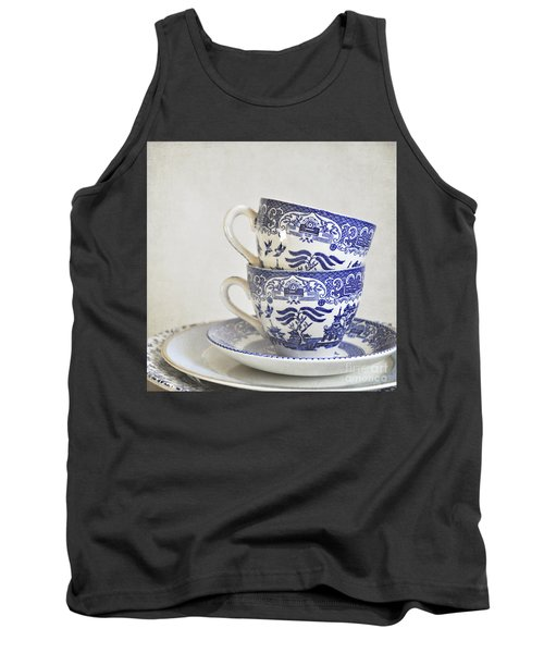 Blue And White Stacked China. Tank Top