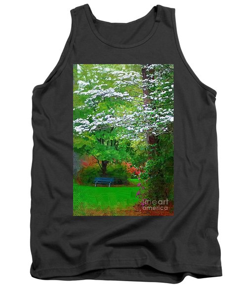 Tank Top featuring the photograph Blue Bench In Park by Donna Bentley