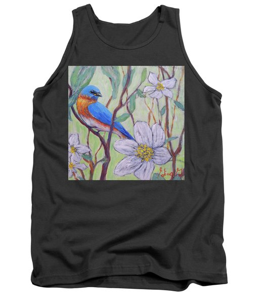 Blue Bird And Blossoms Tank Top