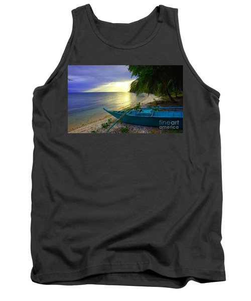 Tank Top featuring the photograph Blue Boat And Sunset On Beach by Christopher Shellhammer