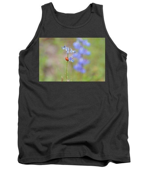 Blue Bonnets And A Lady Bug Tank Top by Carolina Liechtenstein