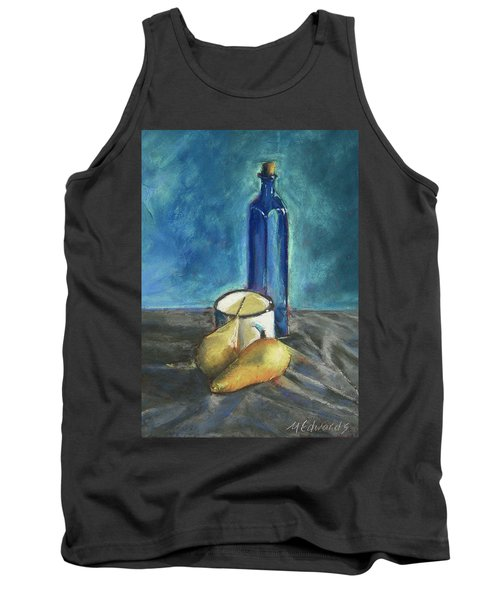 Tank Top featuring the painting Blue Bottle And Pears by Marna Edwards Flavell