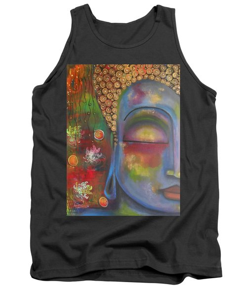 Buddha In Blue Meditating  Tank Top by Prerna Poojara