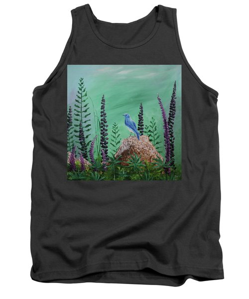 Blue Chickadee Standing On A Rock 2 Tank Top