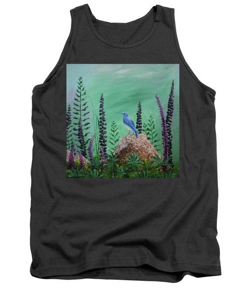 Blue Chickadee Standing On A Rock 2 Tank Top