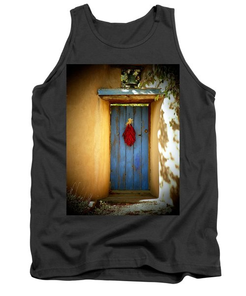 Tank Top featuring the photograph Blue Door With Chiles by Joseph Frank Baraba