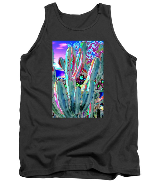 Tank Top featuring the photograph Blue Flame Cactus Abstract by M Diane Bonaparte