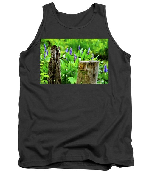 Blue Flowers And Artistic Logs Tank Top