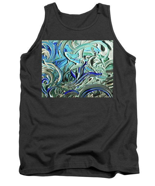 Blue Gray Acrylic Brush Strokes Abstract For Interior Decor I  Tank Top