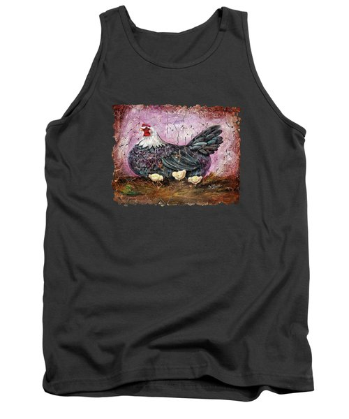 Blue Hen With Chicks Fresco Black Background Tank Top
