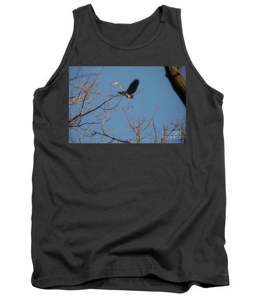 Tank Top featuring the photograph Blue Heron Landing by David Bearden