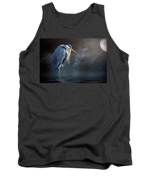 Blue Heron Moon Tank Top by Brian Tarr