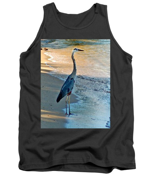 Blue Heron On The Beach Close Up Tank Top
