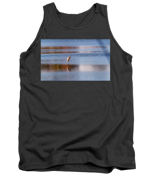 Blue Heron Standing In A Pond At Sunset Tank Top