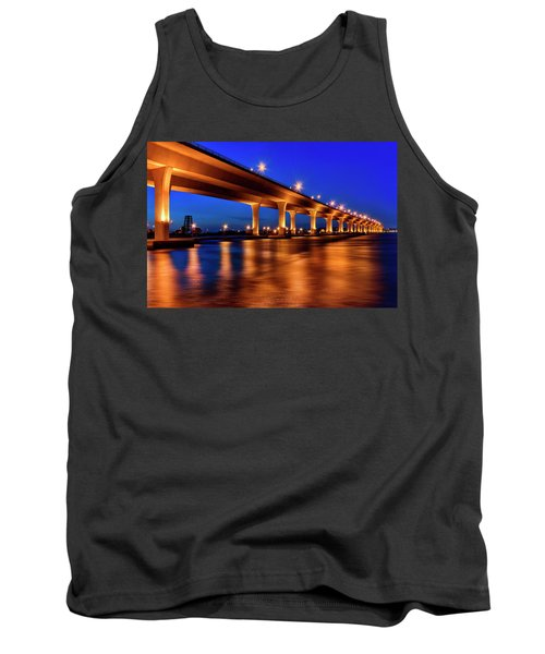 Tank Top featuring the photograph Blue Hour At Roosevelt Bridge In Stuart Florida  by Justin Kelefas