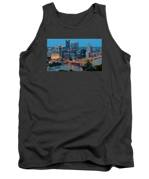 Blue Hour In Pittsburgh Tank Top by Frozen in Time Fine Art Photography