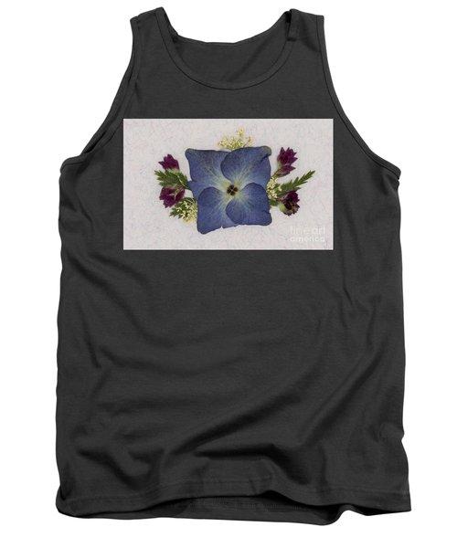 Blue Hydrangea Pressed Floral Design Tank Top