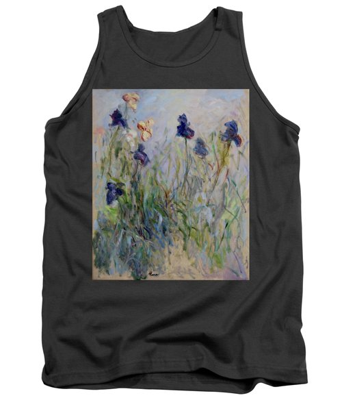 Blue Irises In The Field, Painted In The Open Air  Tank Top by Pierre Van Dijk