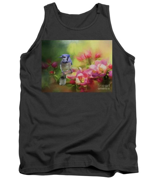 Blue Jay On A Blooming Tree Tank Top