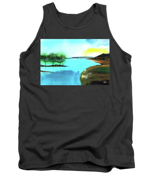 Tank Top featuring the painting Blue Lake by Anil Nene
