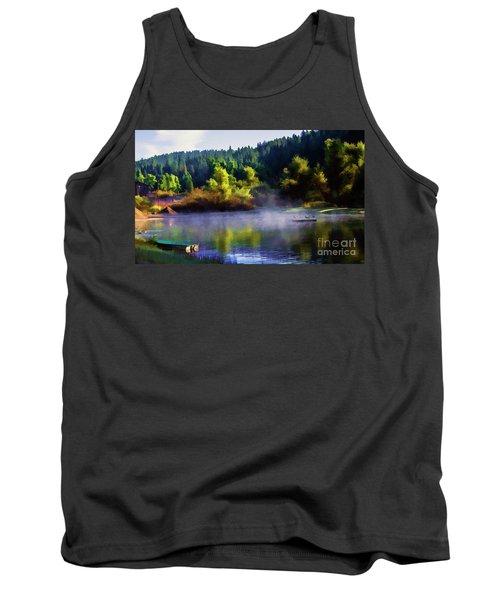 Blue Lake Spring Misty Geese  Tank Top