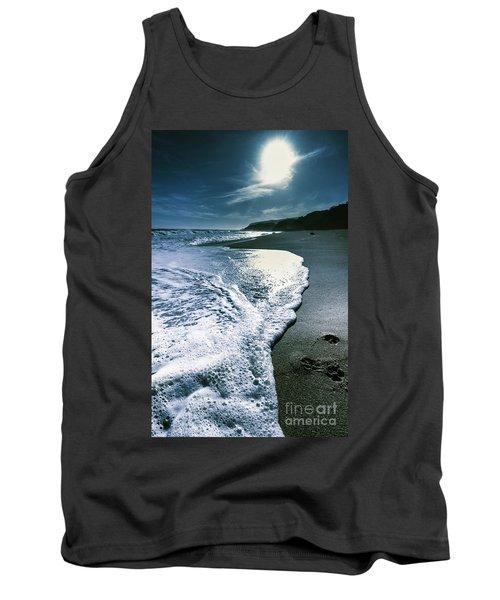 Tank Top featuring the photograph Blue Moonlight Beach Landscape by Jorgo Photography - Wall Art Gallery