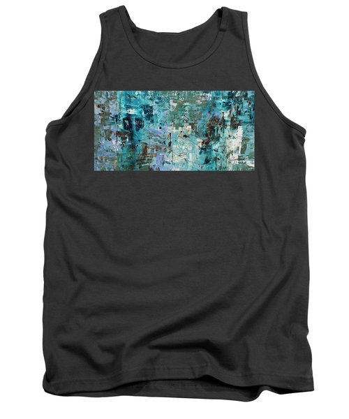 Tank Top featuring the painting Blue Ocean - Abstract Art by Carmen Guedez
