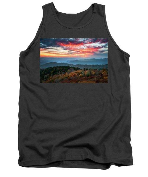 Blue Ridge Parkway Autumn Sunset Scenic Landscape Asheville Nc Tank Top