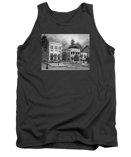 Tank Top featuring the painting Blue Ridge Town In Bw by Gretchen Allen