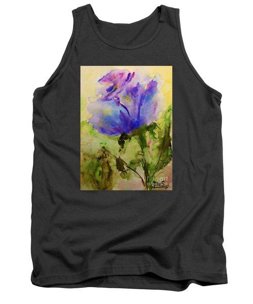 Blue Rose Watercolor Tank Top by AmaS Art
