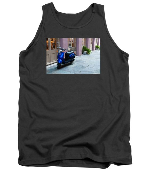 Tank Top featuring the photograph Blue Scooter by Monte Stevens
