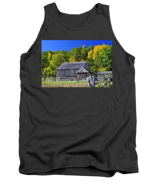 Blue Sky Autumn Barn Tank Top