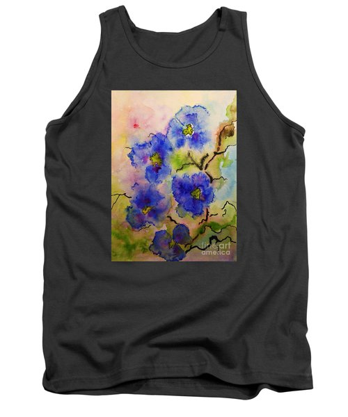 Blue Spring Flowers Watercolor Tank Top by AmaS Art