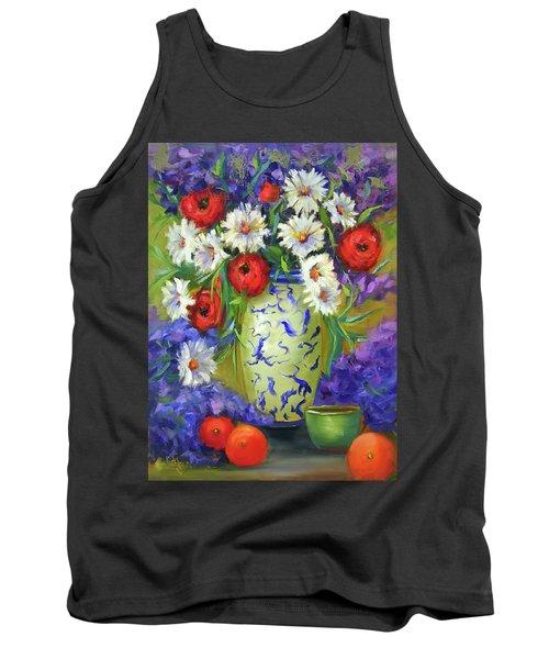 Blue Vase Flowers Tank Top