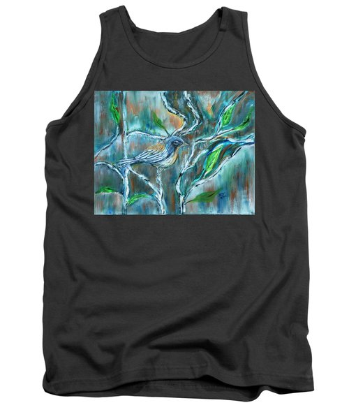 Blue Warbler In Birch Tank Top