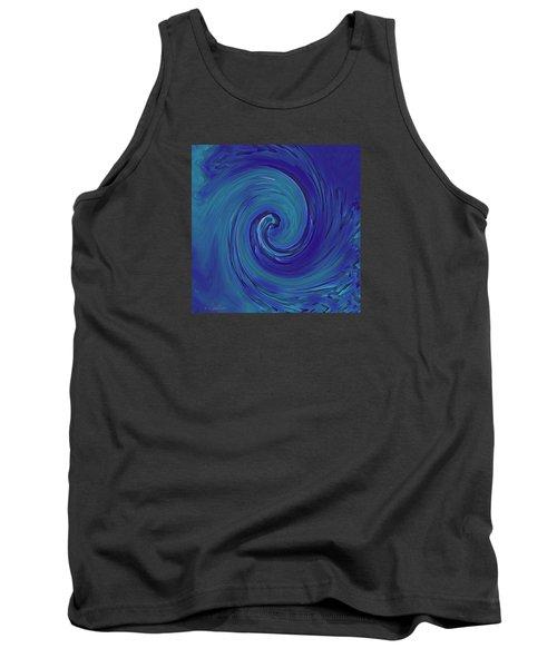 Tank Top featuring the digital art Blue Wave by Kerri Ligatich