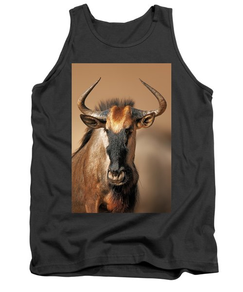 Blue Wildebeest Portrait Tank Top