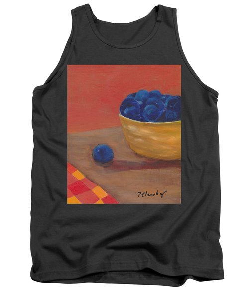 Blueberries Yellow Bowl Tank Top by Patricia Cleasby