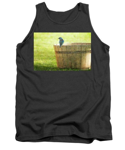 Bluebird Resting On Bucket, Textured Tank Top