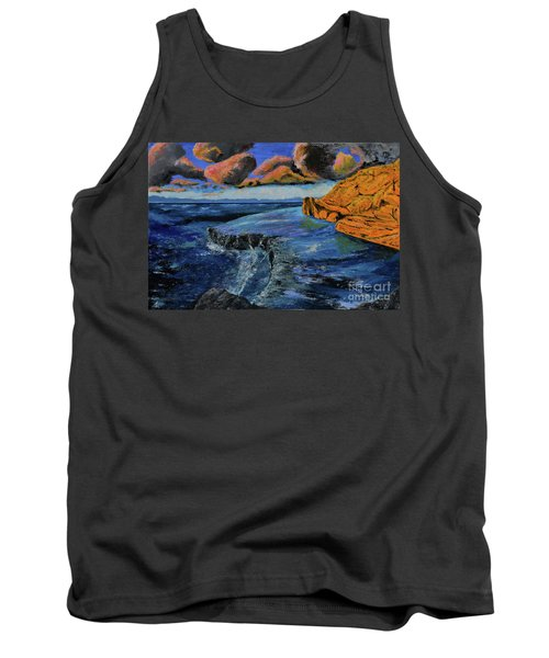 Blue,blue Ocean With Clouds Tank Top
