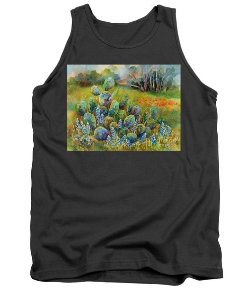 Bluebonnets And Cactus Tank Top